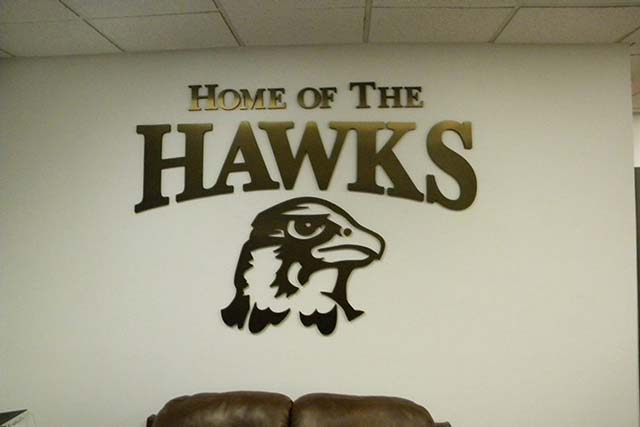 Qu Hawks Routed Wall Lettering